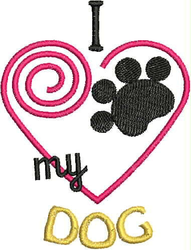 Embroidered Towel - I Love my Dog Heart