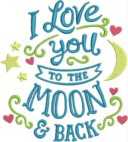 Embroidered Towel - I love you to the moon and back
