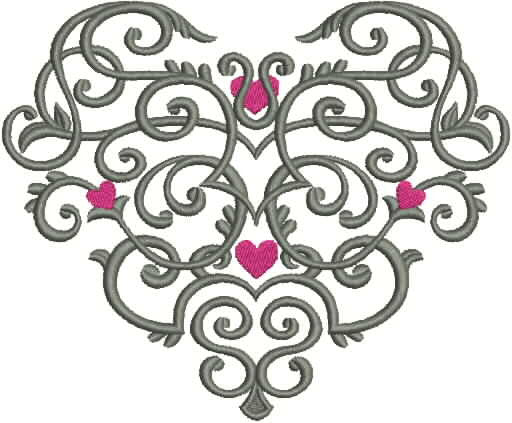 Embroidered Towel - Grey Scroll Heart