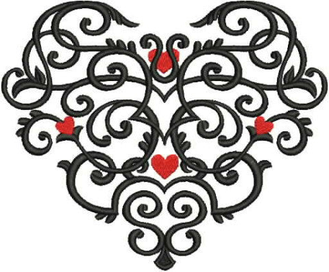 Embroidered Towel - Black Scroll Heart