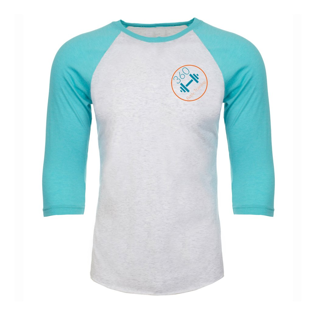 Baseball Top - 360 Body Training - Tiff Blue/White Marl Baseball Top