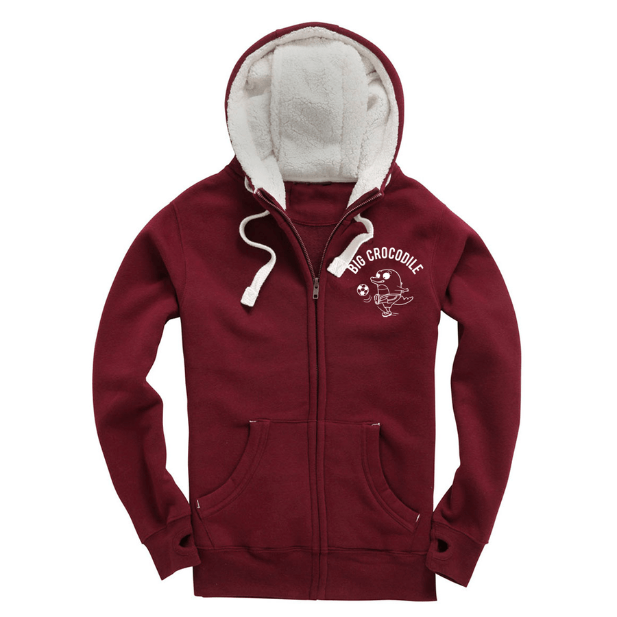 Football Fleece Lined Zip Up Hoodie - Big Crocodile