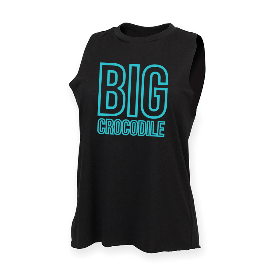 Teal Square High Neck Muscle Vest - Big Crocodile