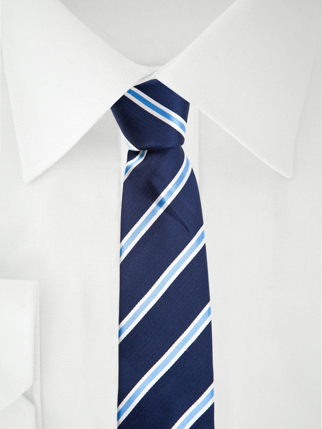 Necktie Skinny Blue White Stripes