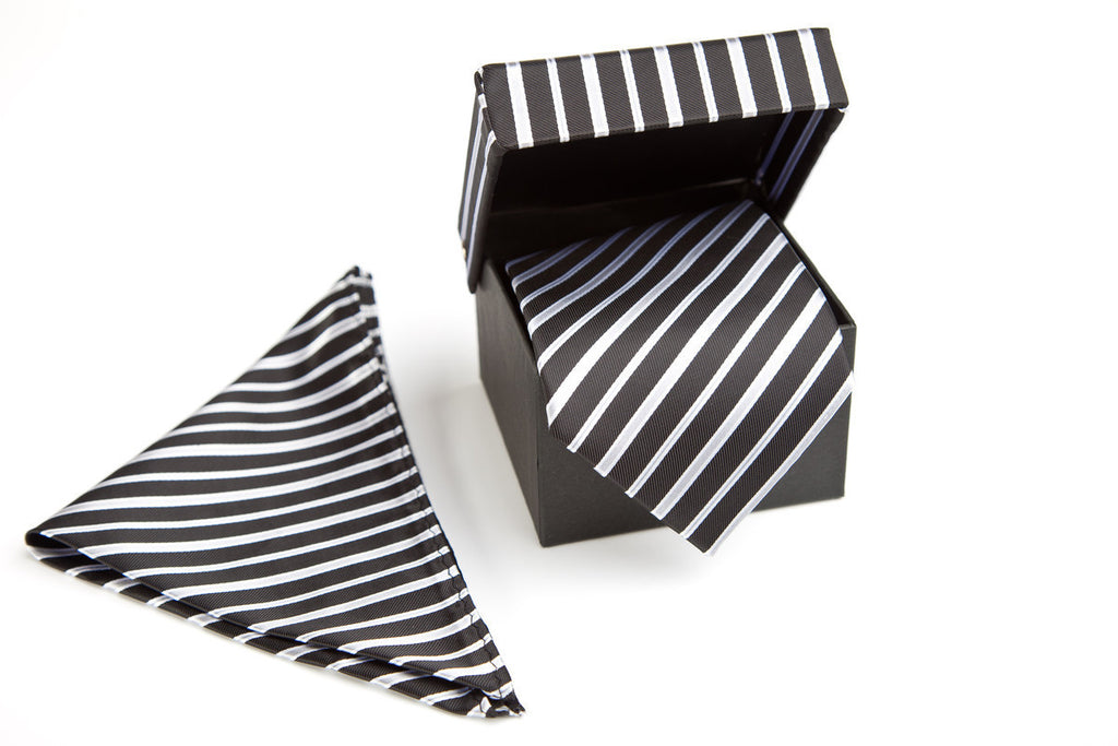 Luxurious Necktie Set Black White Grey Striped