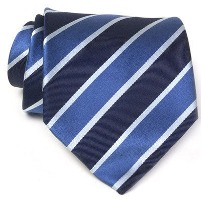 Tie Light Blue / Dark Blue white Silver striped