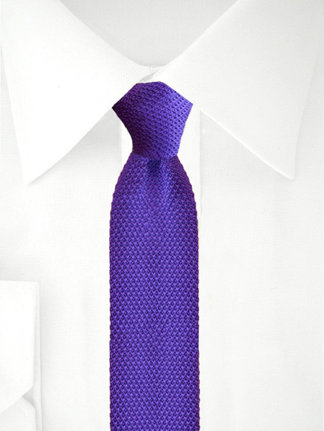 Knitted Necktie Dark Purple