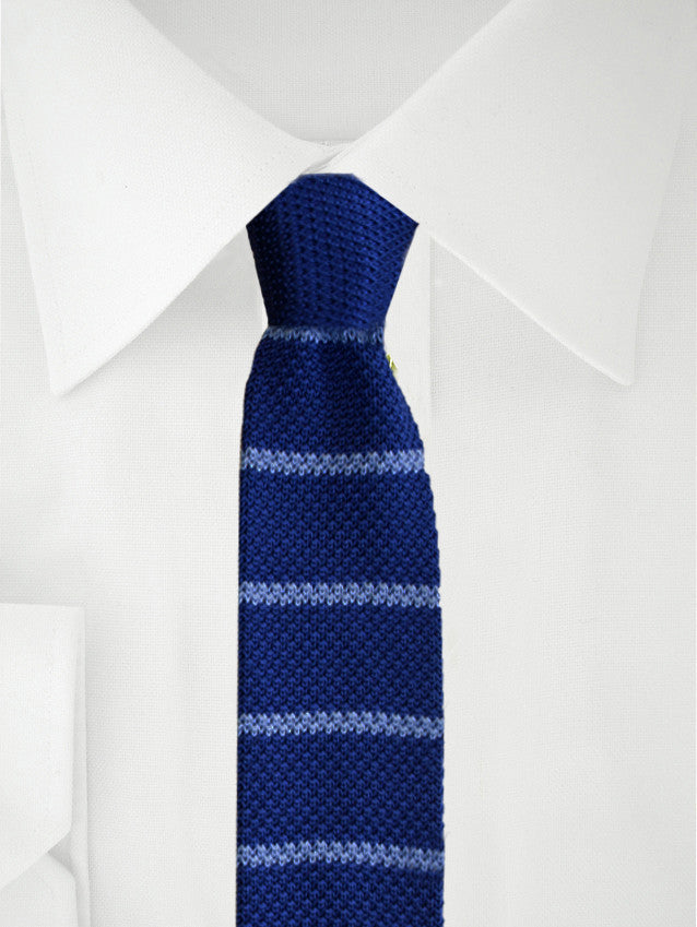 Knitted Necktie Blue Striped