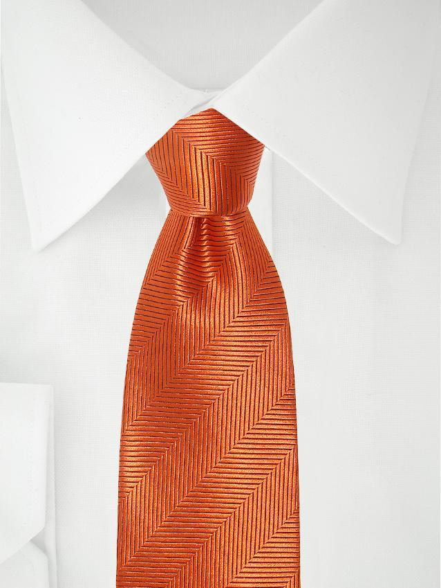 Necktie Dark Orange Herringbone