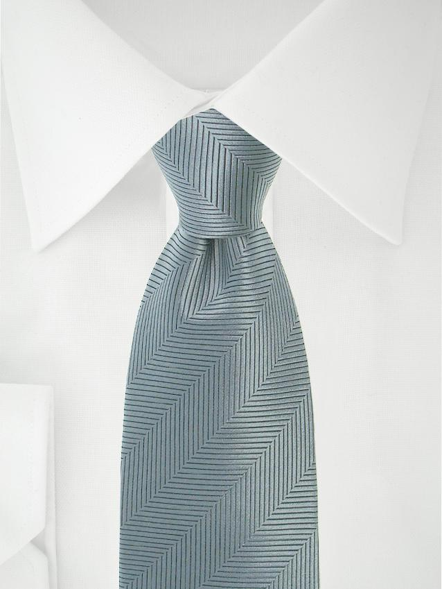 Necktie Grey Herringbone
