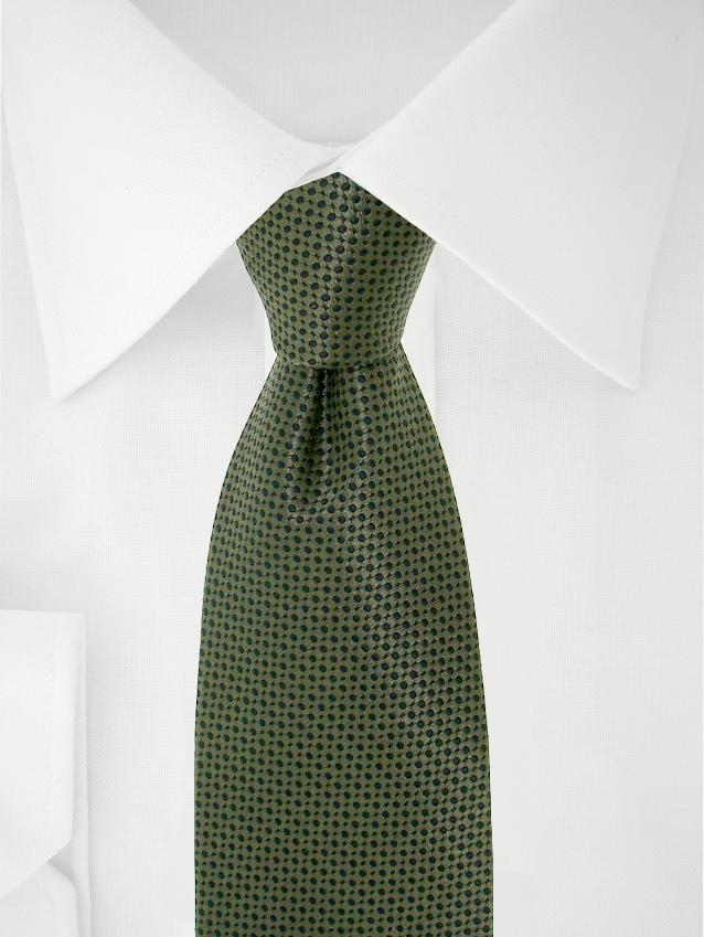 Necktie Green / Black Polka Dotted