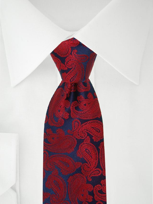 Necktie Dark Blue / Red Paisley
