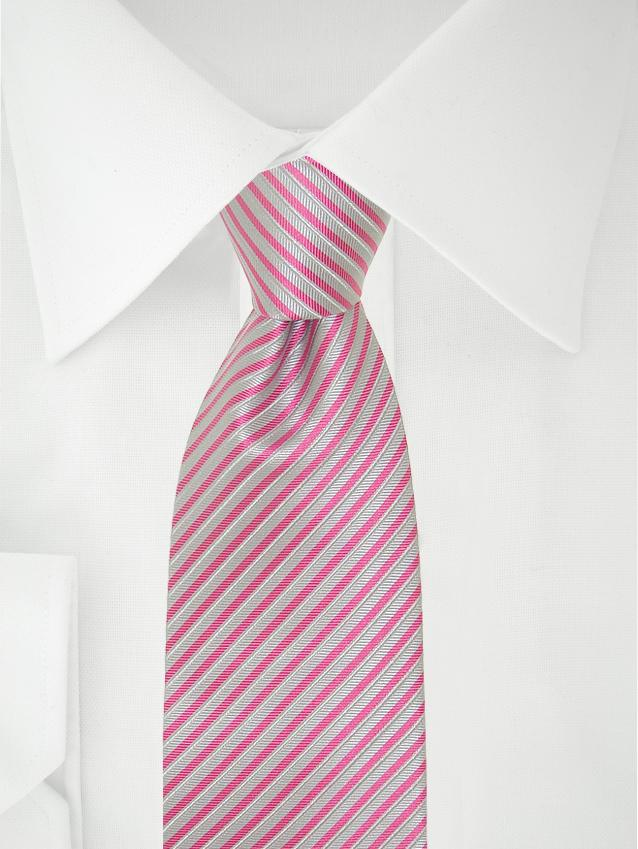 Necktie Grey / Fuchsia Stripes