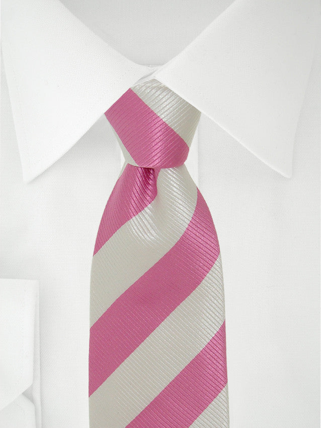 Necktie 7 Fold Striped Pink / White