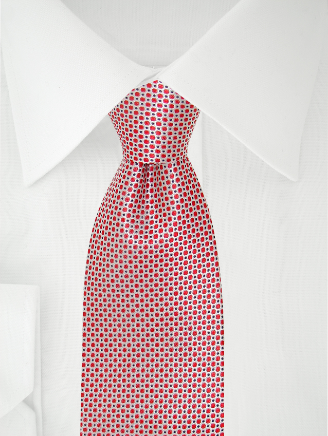 Necktie Red / White / Blue Polka Dotted
