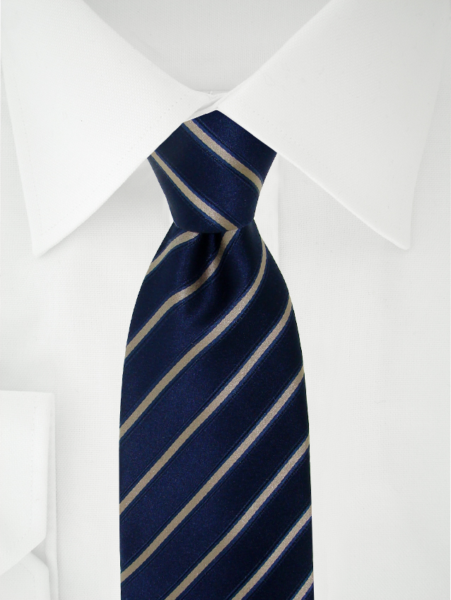 Necktie Blue / Light Brown Stripes
