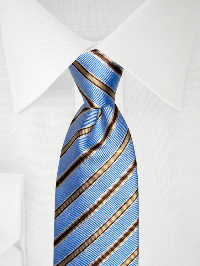 Necktie Narrow Stripes Blue / Brown / White