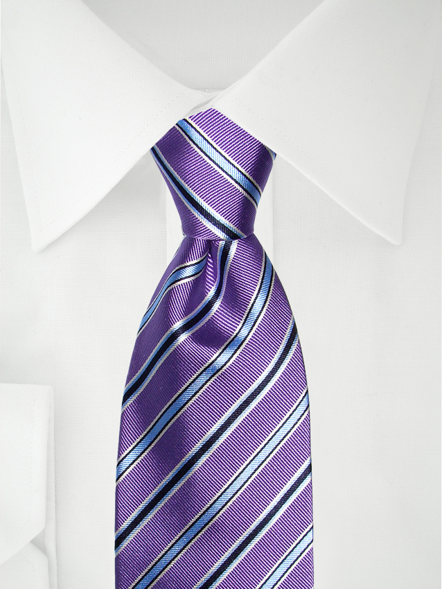 Necktie Narrow Stripes Lilac / Blue / White