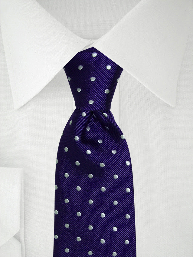 Necktie Purple / White Polka Dotted