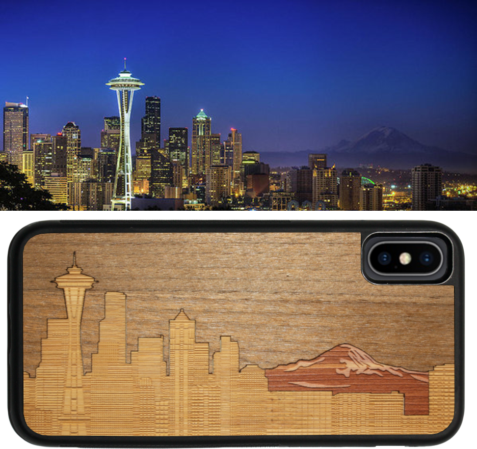 The New Seattle Skyline Traveler Wooden iPhone Case