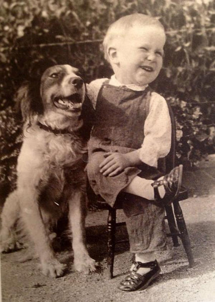 A boy and his dog share a laugh, 1930s Old School Cool