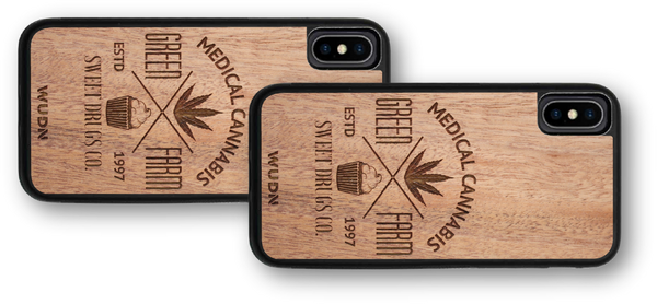 Wooden phone case, wood phone case, wooden iphone case, wood iphone case, wooden galaxy case, wood galaxy case, Green Farm Medical Cannabis phone case, Marijuana iphone case