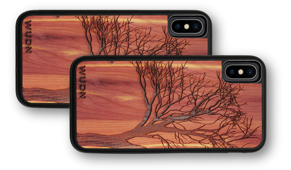 Slim wooden iPhone case, slim wooden samsung galaxy case, winter tree design