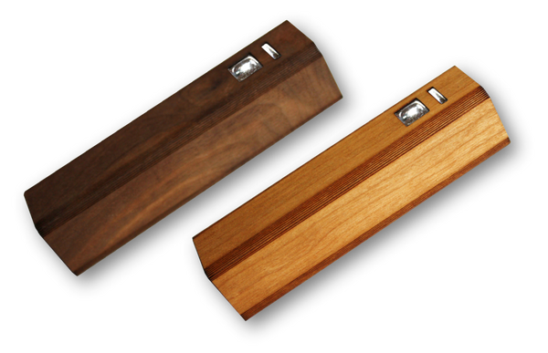 Wooden Ultra-Slim Portable Lipstick Power Bank for iPhone android, 2200 mah, walnut, cedar, bamboo, mahogany, cherry