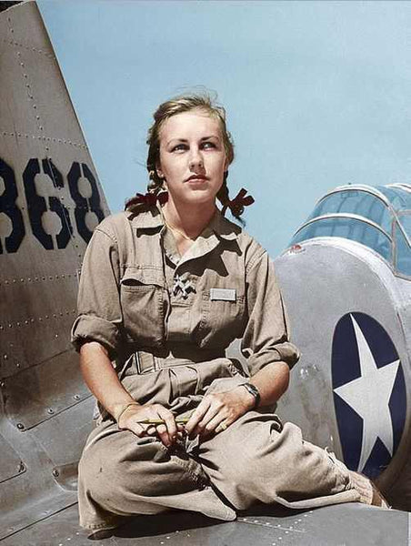 Shirley Slade, WASP pilot, 1943. She was one of over 1,000 female pilots who ferried B-26 and B-29 bombers and supplies during WWII.