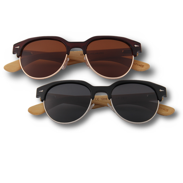 Bamboo Wooden Sunglasses Browline Style Vintage Retroshade Frames and lenses in brown and smoke black