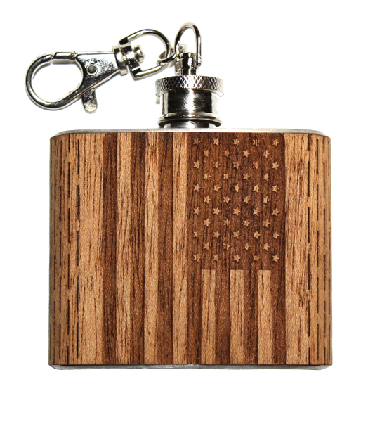 2 oz American Flag Pocket Keychain Flask