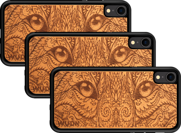 cat eyes laser engraved wooden phone case, wooden iphone case