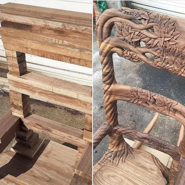 Killer, Carved Wooden Chair - Before & After. Amazing Craftsmanship.