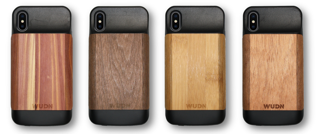 Wooden iPhone X Battery Charging Case in Mahogany, Cedar, Walnut, Bamboo