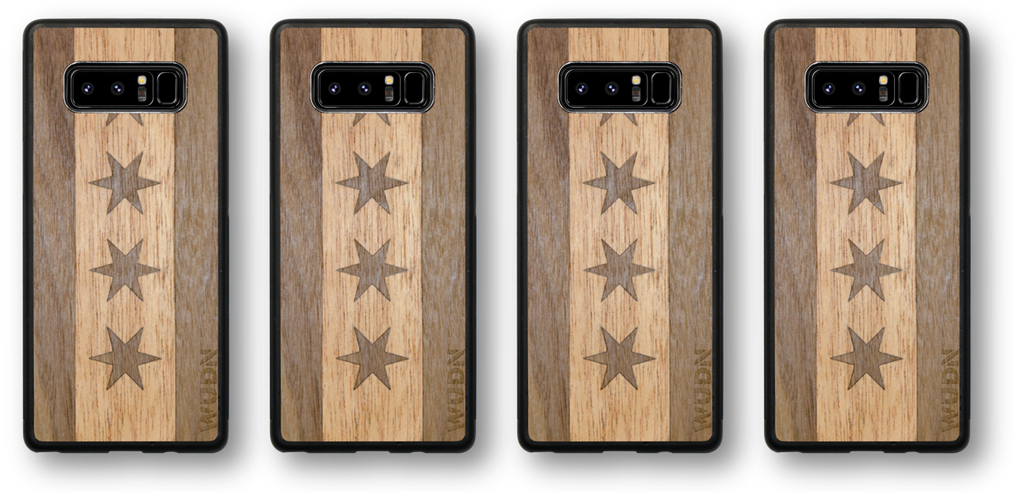 Wood phone case - Chicago flag traveler