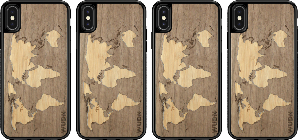 Wooden world map phone case bamboo walnut