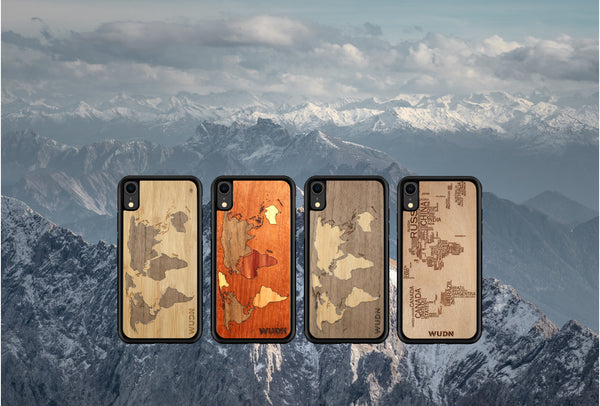 world map phone case, wooden world map case, laser engraved world map