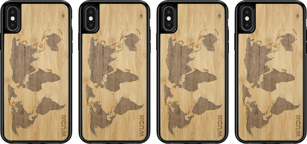 wood world map phone case