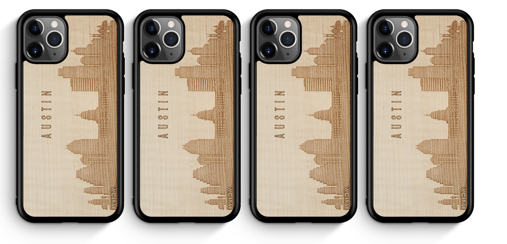 CityScape City Skyline Wooden Phone Cases Austin Texas