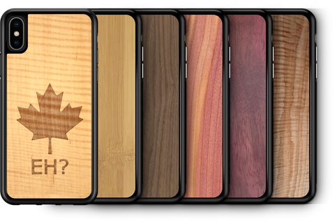 "Slim Wooden Phone Case ""Canada Eh?"" in Shimmering Maple"