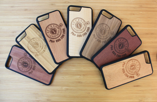 Wooden Phone cases laser engraved with logo on 7 different wood types