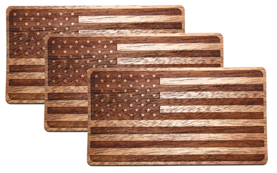 Real wood american flag sticker