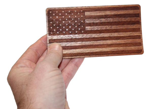 Wood American Flag Sticker in Hand