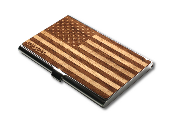 Laser engraved American flag on rich mahogany business card holder, case, wallet