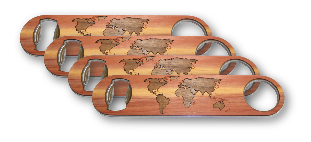 Large Stainless Steel Bottle Opener - world map traveler inlay with cedar and black walnut