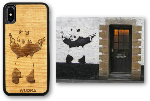 Slim Wooden Phone Case Banksy Bad Panda for iPhone and Samsung Galaxy