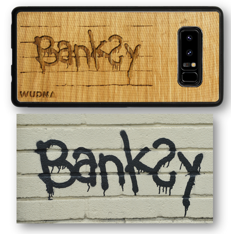 Banksy Tag signature wooden iphone case, wooden samsung galaxy phone case