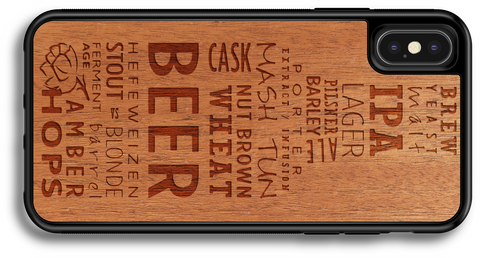 microbrew craft beer phone case wood phone cover mahogany walnut laser engraved iphone samsung galaxy