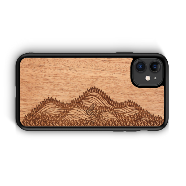 Wooden Phone Case - Outdoor Adventure - Mountain Biker by Ben McKenzie