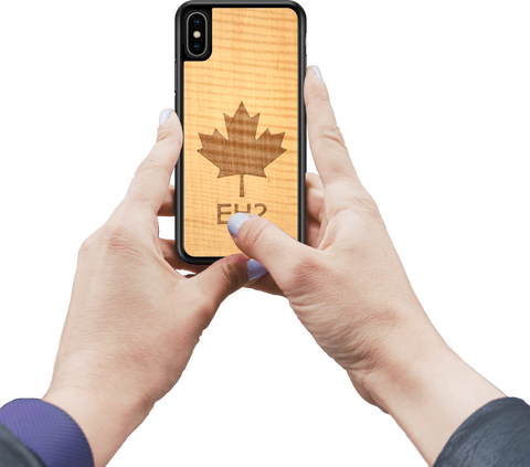 Oh Canada - custom wooden phone case, in hands